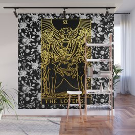 The Lovers - A Floral Tarot Print Wall Mural