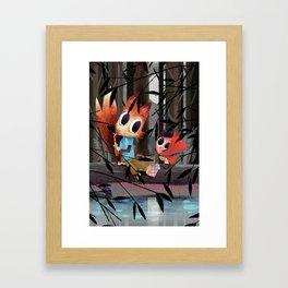 Caperucita Roja y el Lobo hacen un picnic Framed Art Print