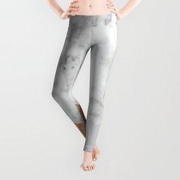 Geometric White Marble - Wood & Silver #157 Leggings