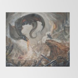 Black Battle Dragon Throw Blanket