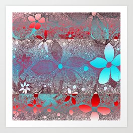 Flowers In Lace Red Blue Art Print