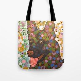 Zeus ... Abstract pet animal dog portrait art, German Shepherd Tote Bag