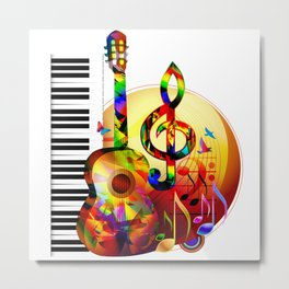 Colorful  music instruments painting, guitar, treble clef, piano, musical notes, flying birds Metal Print