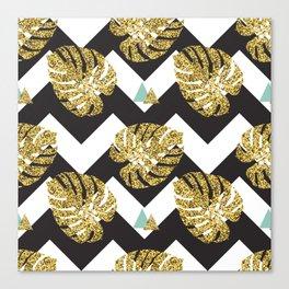 Golden palm leaves Canvas Print