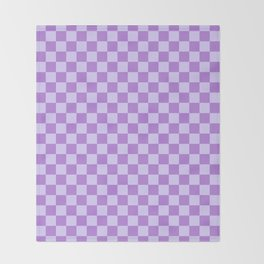 Pale Lavender Violet and Lavender Violet Checkerboard Throw Blanket