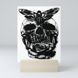 Moth and Rose skull motif , Custom gift design Mini Art Print