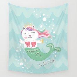 Purrmaid, Cat Mermaid Princess Wall Tapestry