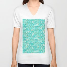 Luxury Aqua Teal and Gold oriental quatrefoil pattern Unisex V-Neck