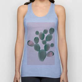 Watercolored Cactus on Pink Unisex Tank Top