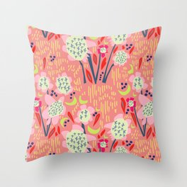 Abstract Floral Cluster Pink Sunset Large Throw Pillow