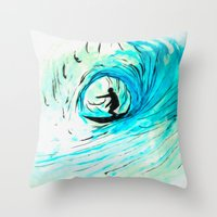 surfer Throw Pillows featuring Surfer by Bruce Stanfield