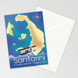 Santorini Cyclades islands Travel Map Stationery Cards
