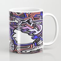 techno Mugs featuring Salmon Techno by Madison R. Leavelle