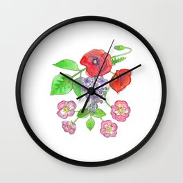 Wild Poppies, Lilacs, and Roses Wall Clock