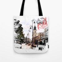 poland Tote Bags featuring Poland - Krawkowskie Przedmiescie, Warsaw by viva la revolucion
