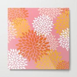 Festive, Floral Prints, Modern, Abstract, Retro, Pink, Orange, Yellow Metal Print