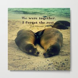 Love couple quote sea lions on the beach Metal Print