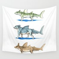 sharks Wall Tapestries featuring Dog Sharks by Jessie L.P.
