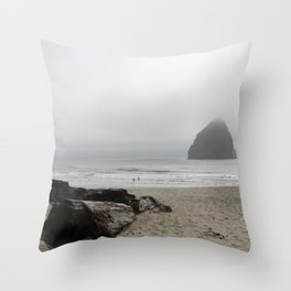 Haystack Rock At Cannon Beach Throw Pillow