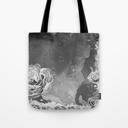 Mad Lucy's Golden Roses. Yellow Roses and Galaxy Blue in Black and White Shadow Tote Bag