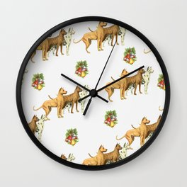 CHRISTMAS DOGS PATTERN Wall Clock