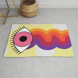 Clouds & Rainbow Pink Crying Eye Design Rug