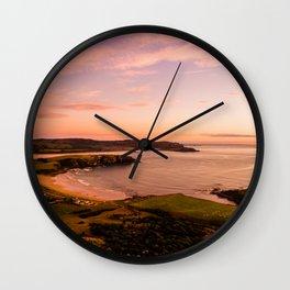 jacks bay new zealand beautiful colors at sunset farmland bay Wall Clock