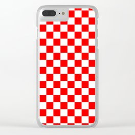 Jumbo Australian Racing Flag Red and White Checked Checkerboard Pattern Clear iPhone Case