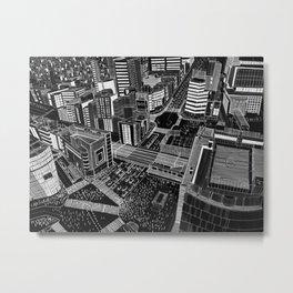 Shibuya in BW Metal Print