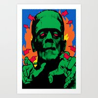 frankenstein Art Prints featuring Frankenstein by Sellergren Design - Art is the Enemy