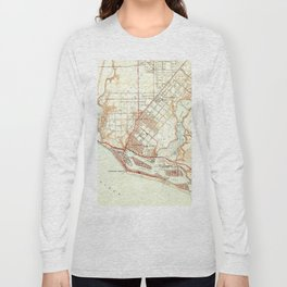 Vintage Map of Newport Beach California (1951) Long Sleeve T-shirt