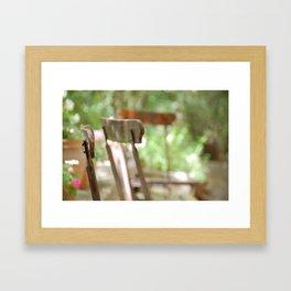 Trois Chaises, Atelier de Cézanne ~ Three chairs in garden, Cezanne's home Framed Art Print