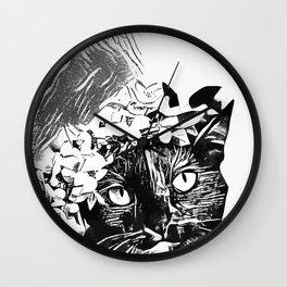 Black Cat InkWork Wall Clock