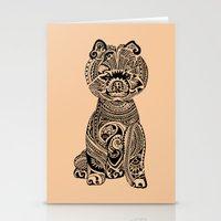 pomeranian Stationery Cards featuring Polynesian Pomeranian by Huebucket