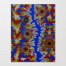 Authentic Aboriginal Art - Waterholes Corela Canvas Print