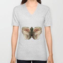Vanilla Butterfly Roses Unisex V-Neck