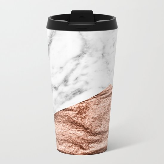 Marble & rose gold foil geometric design Metal Travel Mug
