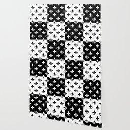 Black & white royal lilies (chessboard) Wallpaper