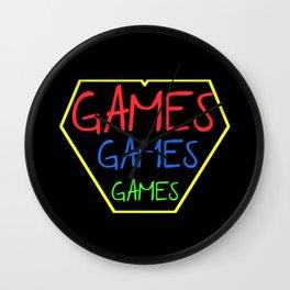 GAMES GAMES GAMES Wall Clock