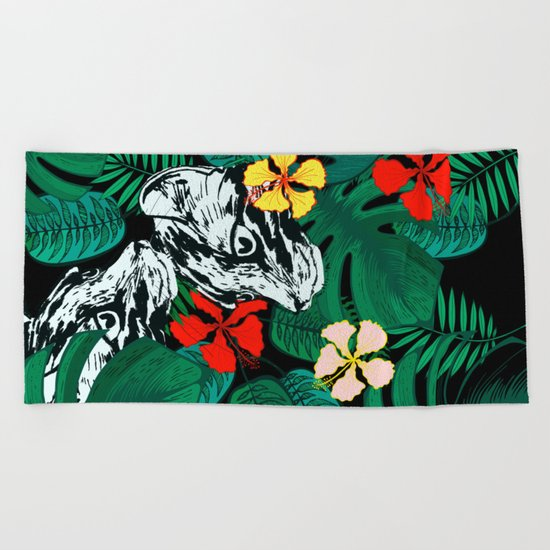 Tropical floral jungle. Exotic forest. Leopard with flowers. Beach Towel