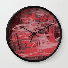 Muted Red & Pink Abstract Wall Clock