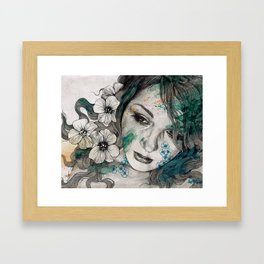 Cleopatra's Sling (flower tattoo lady portrait drawing) Framed Art Print