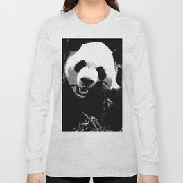 Cute Giant Panda Bear with tasty Bamboo Leaves Long Sleeve T-shirt