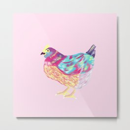 Pretty Colorful Chicken Pink, Teal, Yellow, Purple Metal Print