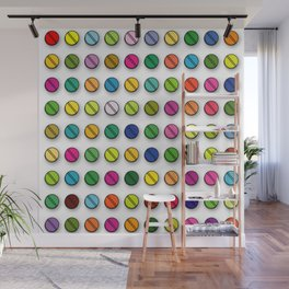 Multi-coloured Pills Pattern square Wall Mural