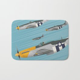 P51 Mustang Flying in Formation Bath Mat
