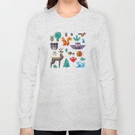 Geometric animals in forest Long Sleeve T-shirt