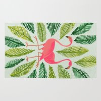 flamingos Area & Throw Rugs featuring Flamingos by Cat Coquillette