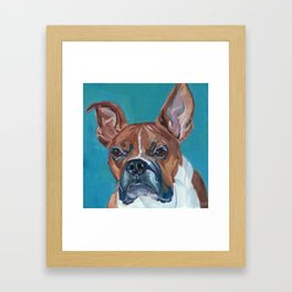 Walker the Boxer Dog Portrait Framed Art Print