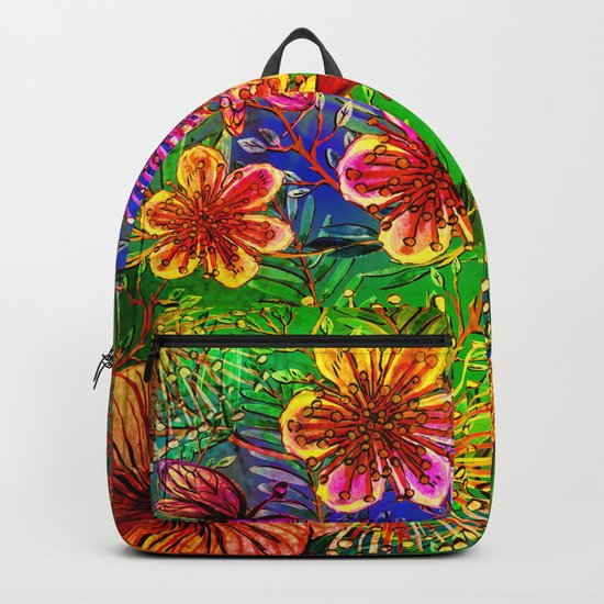Tropical Heat-Colorful Floral Exotic Tropical Flower Pattern Backpack